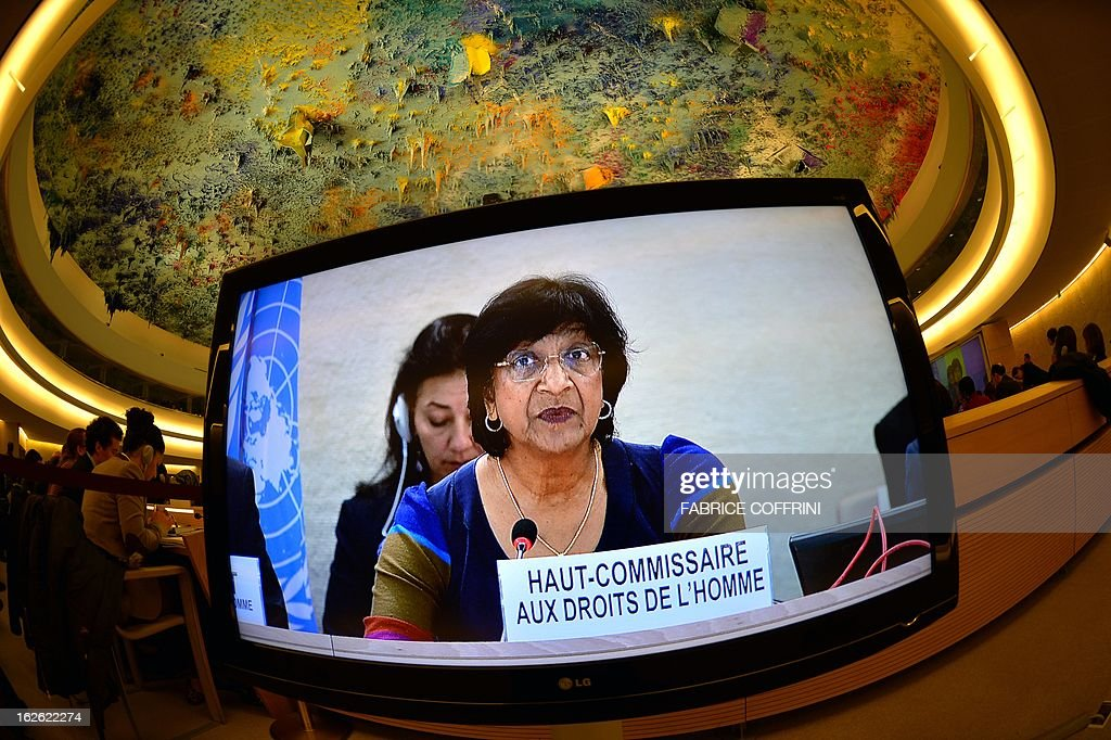 United Nations High Commissioner for Human Rights Navi Pillay is seen on a TV screen at the opening of the 22nd session of the UN Human Rights Council on February 25, 2013 in Geneva. The Council kicks off with widespread abuses in North Korea and Mali the top items on the agenda, along with the crisis in Syria.