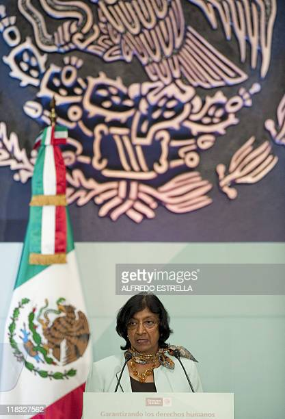 United Nations High Commissioner for Human Rights Navy Pillay speaks during the meeting named Derechos Humanos Mexico y la ONU Construyendo Hacia el...