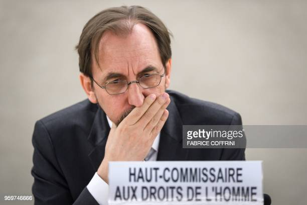 United Nations High Commissioner for Human Rights Zeid Ra'ad Al Hussein gestures during a special session of the UN Human Rights Council to discuss...