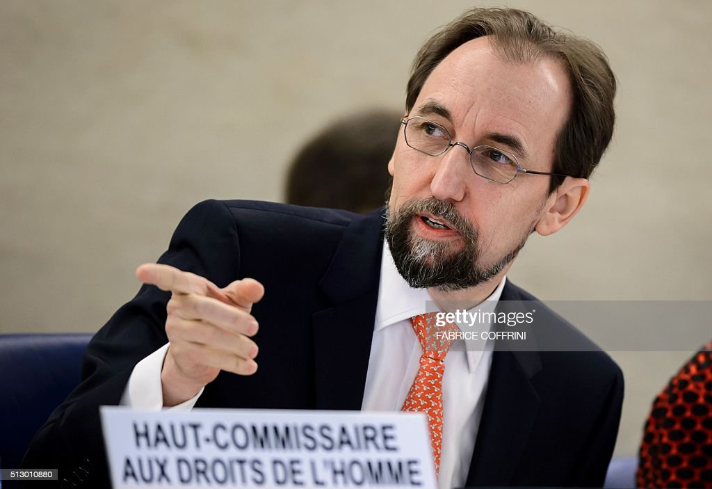 United Nations High Commissioner for Human Rights Zeid Ra'ad Al Hussein gestures at the opening of the main annual session of the United Nations Human Rights Council on February 29, 2016 in Geneva. / AFP / FABRICE