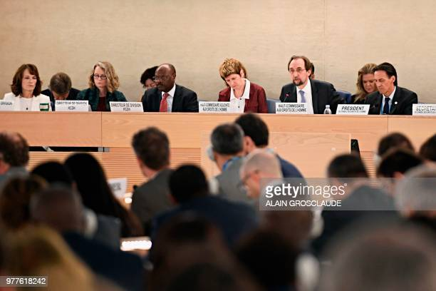 United Nations High Commissioner for Human Rights Zeid Ra'ad Al Hussein flanked by President of the Human Rights Council Vojislav Suc speaks during...
