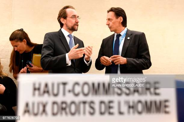United Nations High Commissioner for Human Rights Zeid Ra'ad Al Hussein talks with president of the Human Rights Council Vojislav Suc during the...