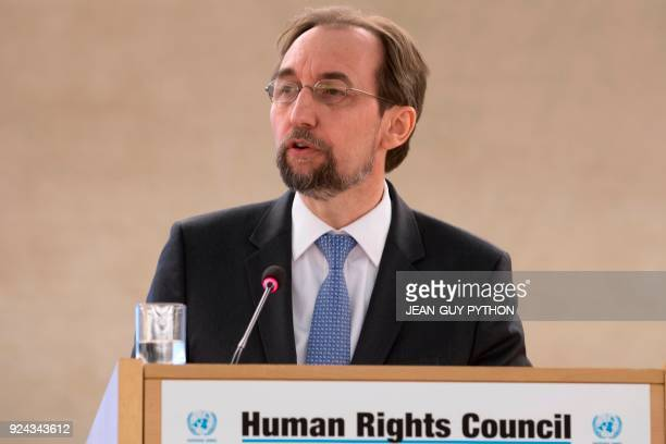 United Nations High Commissioner for Human Rights Zeid Ra'ad Al Hussein addresses the 37th session of the United Nations Human Rights Council on...