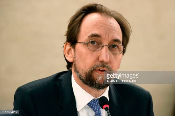 United Nations High Commissioner for Human Rights Zeid Ra'ad Al Hussein speaks during the opening of the 38th session of the UN Human Rights Council...