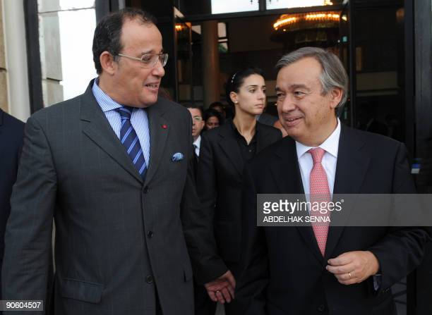 United Nations High Commissioner for Refugees Antonio Guterres is received by Moroccan Minister of Foreign Affairs Taieb Fassi Fihri in Rabat on...