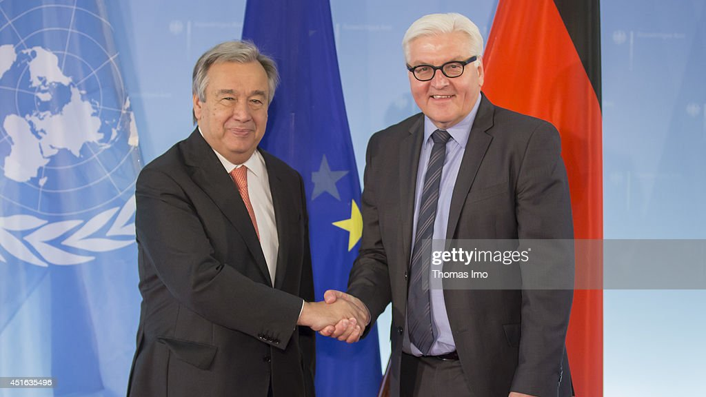 United Nations High Commissioner for Refugees (UNHCR) Antonio Guterres meets German Foreign Minister Frank-Walter Steinmeier at the Federal Foreign Ministry on July, 03 2014 in Berlin, Germany.