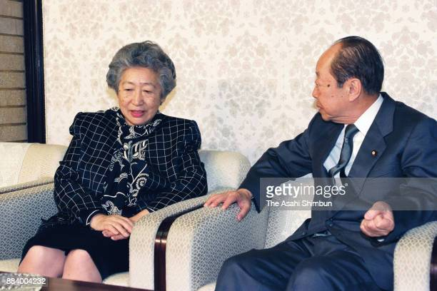 United Nations High Commissioner for Refugees Commissioner Sadako Ogata and Japanese Prime Minister Kiichi Miyazawa talk during their meeting at the...