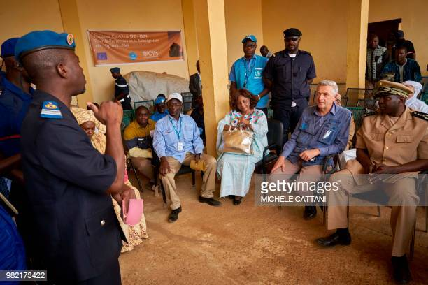 United Nations High Commissioner for refugees Filippo Grandi Gao's Governor Sidiki Samake and UNHCR's representative in Mali Angele Djohossou visit...