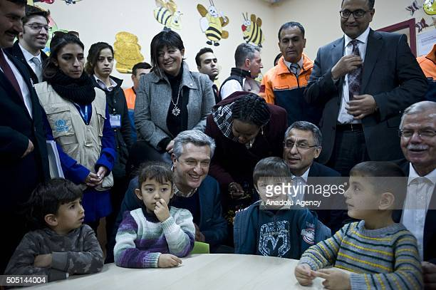 United Nations High Commissioner for Refugees Filippo Grandi visits a course class at Turkish Prime Ministry Disaster Emergency Management...