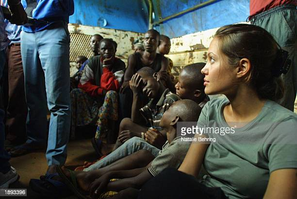 United Nations High Commissioner for Refugees Goodwill Ambassador Angelina Jolie on a truck with newly arrived refugees en route from Kigoma to...