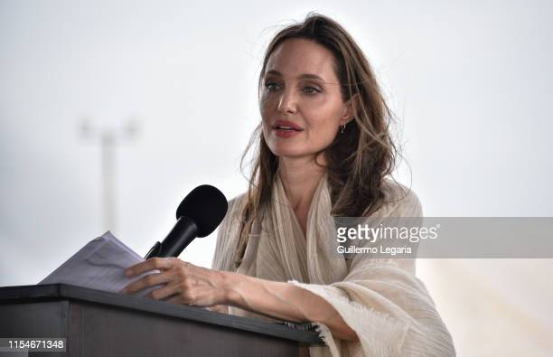 United Nations High Commissioner for Refugees Special Envoy Angelina Jolie delivers a speech during a press conference after visiting a refugee camp...