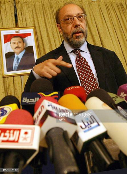 United Nations human rights investigator Hani alMajaleh speaks during a news conference on the last day of his visit to Sanaa on July 6 as protests...