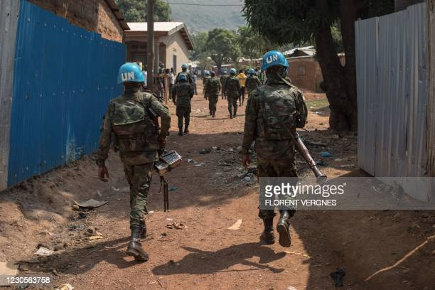 United Nations Multidimensional Integrated Stabilization Mission in the Central African Republic soldiers patrol in PK12, 12 kilometres from downtown...