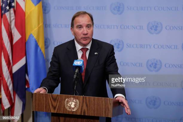 United Nations New York USA July 09 2018 Stefan Lofven Prime Minister of Sweden and President of the Security Council for the month of July briefs...