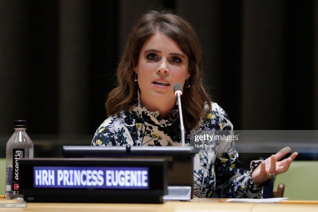 Princess Eugenie of York at UN to Help Abolishing Modern Slavery : News Photo