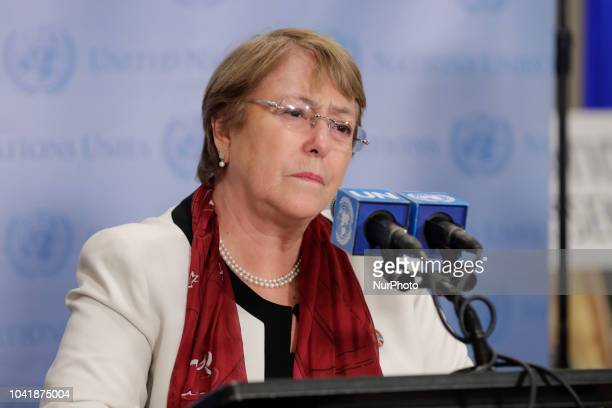 United Nations New York USA September 26 2018 Michelle Bachelet United Nations High Commissioner for Human Rights briefs journalists today at the UN...