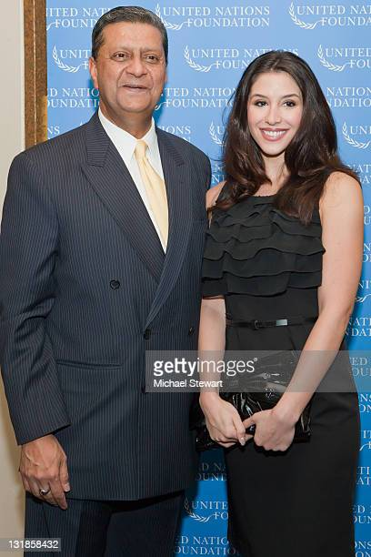 United Nations Office for Partnerships Executive Director Amir Dossal and Diana Falzone attend a reception honoring Amir Dossal at Millenium UN Plaza...