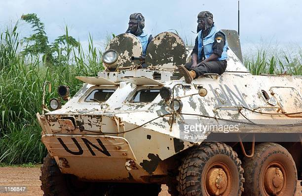 United Nations Peacekeepers prepare to patrol in Buedu Sierra Leone July 22 2002 Sierra Leone known for some of the decade's worst war crimes is...