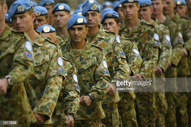 United Nations peacekeeping troops march during the United Nations Day wreath laying ceremony held at the Cenotaph in Martin Place on October 24 2002...