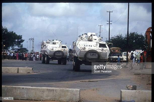 United Nations peacekeeping vehicles drive October 13, 1993 in Mogadishu, Somalia. Two US Army Airborne Ranger''s helicopters were shot down October...