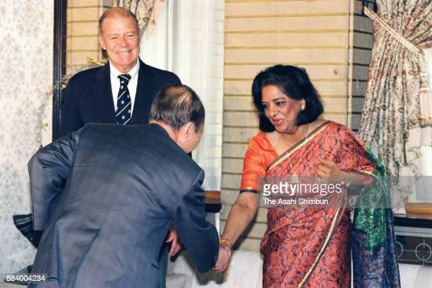United Nations Population Fund Secretary General Nafis Sadik and Japanese Prime Minister Kiichi MIyazawa shake hands prior to their meeting at the...