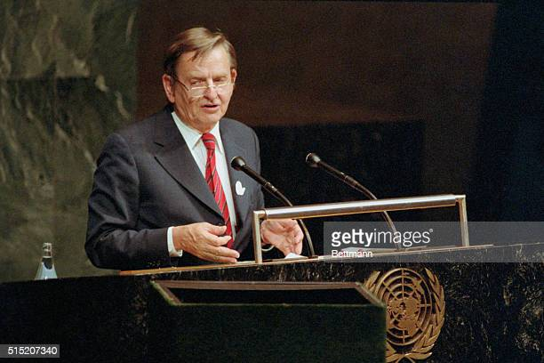 Prime Minister of Sweden Mr Olof Palme addressing UN General Assembly