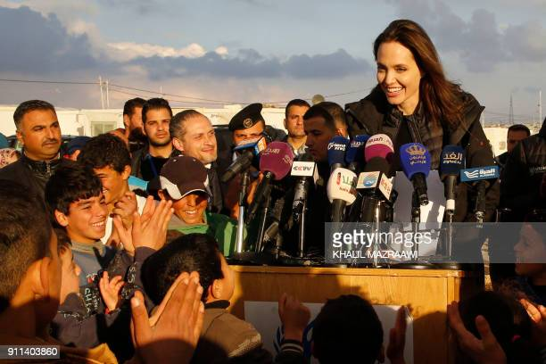 United Nations refugee agency special envoy Angelina Jolie holds a press conference during a visit to Jordan's Zaatari camp for Syrian refugees on...