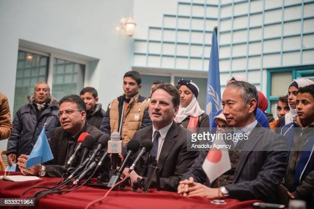 United Nations Relief and Works Agency Commissioner General Pierre Krenpol and Ambassador for the Palestinian Affairs and Representative of Japan...
