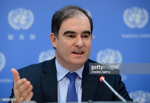 United Nations Relief and Works Agency director John Ging speaks over the humanitarian plight in South Sudan in a press conference at the UN office...