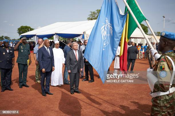 United Nations Secretary General Antonio Guterres and Malian Prime Minister Soumeylou Boubeye Maiga attend the ceremony of Peacekeepers' Day at the...