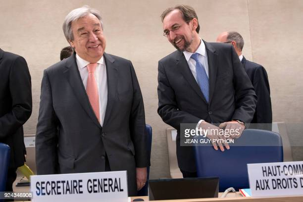United Nations Secretary General Antonio Guterres and United Nations High Commissioner for Human Rights Zeid Ra'ad Al Hussein stand during the 37th...