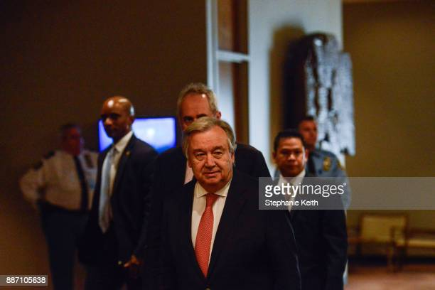 United Nations Secretary General Antonio Guterres arrives to deliver remarks to the press at the United Nations Headquarters on December 6 2017 in...