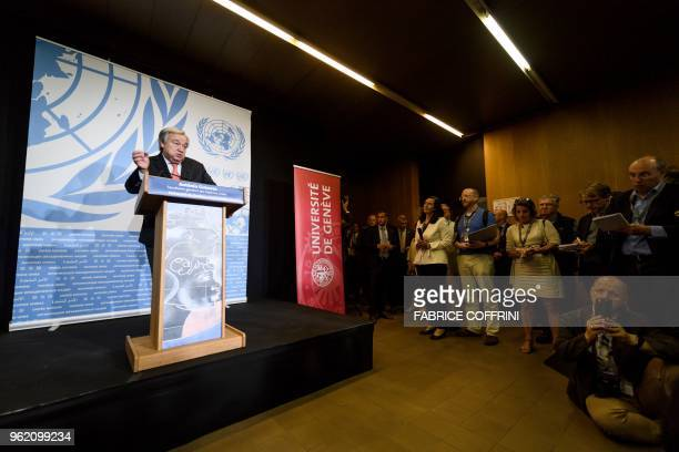 United Nations Secretary General Antonio Guterres attends a press briefing after presenting his agenda for disarmament during a confrerence at the...