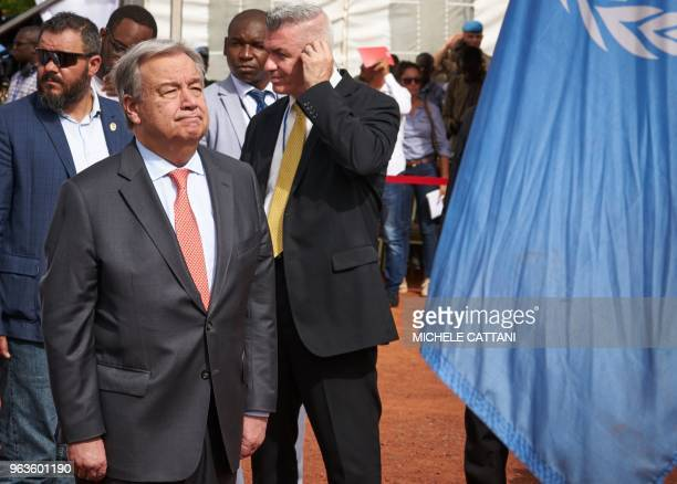 United Nations Secretary General Antonio Guterres attends the ceremony of Peacekeepers' Day at the operating base of MINUSMA in Bamako on May 29 2018...