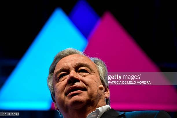 United Nations secretary general Antonio Guterres delivers a speech during the opening ceremony of the 2017 Web Summit in Lisbon on November 6 2017...