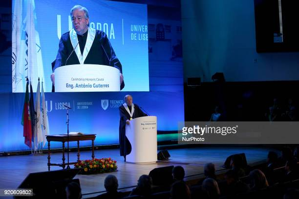 United Nations Secretary General Antonio Guterres delivers a speech during a ceremony to award him an Doctor Honoris Causa degree at Lisbon...