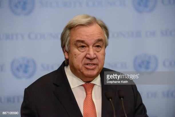 United Nations Secretary General Antonio Guterres delivers remarks to the press at the United Nations Headquarters on December 6 2017 in New York...