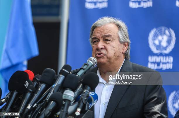 United Nations Secretary General Antonio Guterres holds a press conference at the Aleppo Elementary school run by the UN agency for Palestinian...