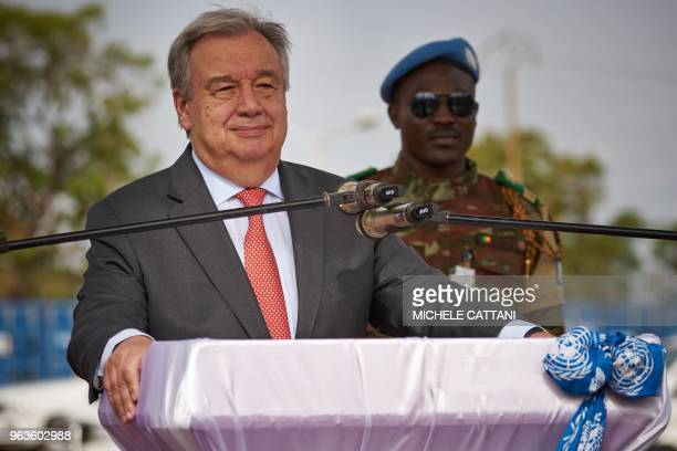 United Nations Secretary General Antonio Guterres looks on as he delivers a speech during the ceremony of Peacekeepers' Day at the operating base of...