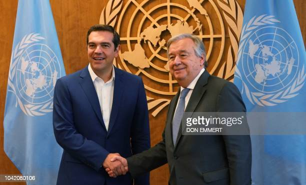 United Nations Secretary General Antonio Guterres meets with Greece's Prime Minister Alexis Tsipras at the United Nations in New York on September 27...