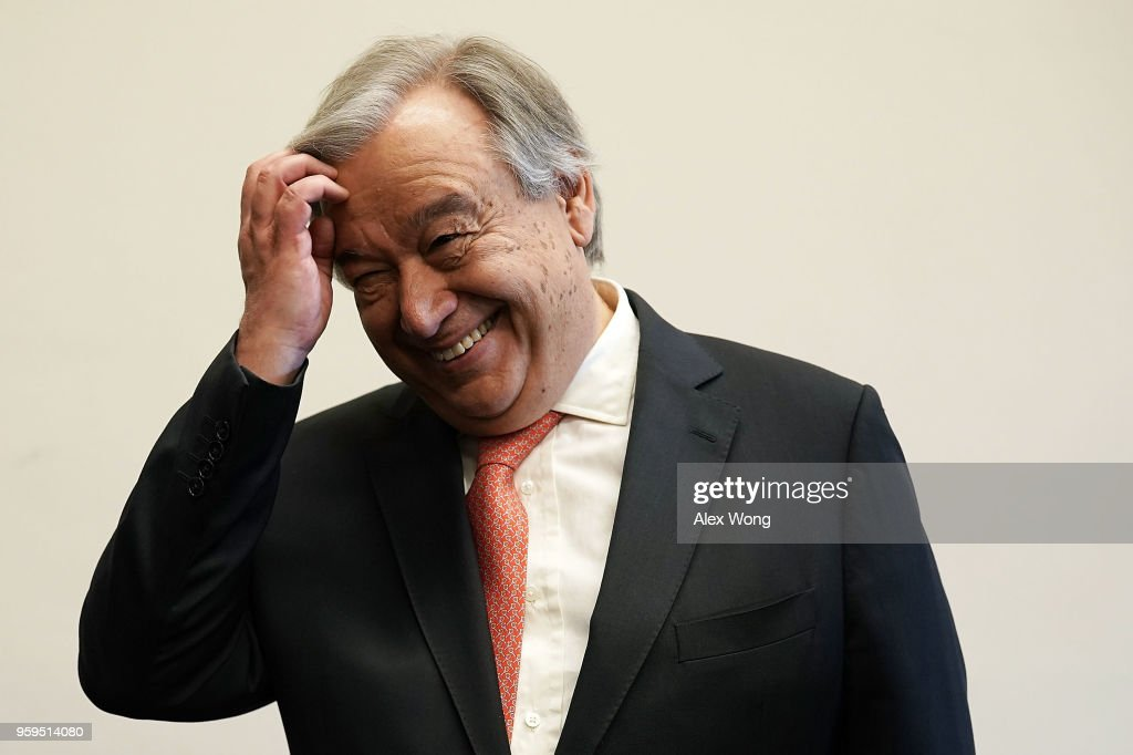 United Nations Secretary General Antonio Guterres prior to a meeting with members of U.S. House Foreign Affairs Committee May 17, 2018 on Capitol Hill in Washington, DC. Secretary General Guterres will meet with U.S. President Donald Trump at the White House in the afternoon.