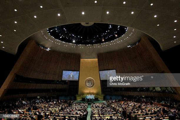 United Nations Secretary General Ban KiMoon addresses the 65th session of the General Assembly at the United Nations on September 23 2010 in New York...