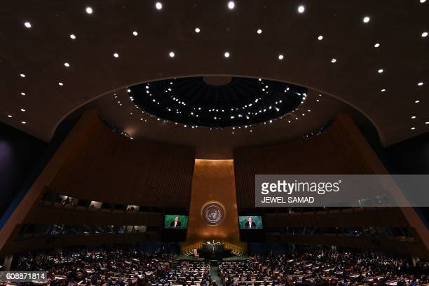 TOPSHOT United Nations Secretary General Ban Kimoon addresses the 71st session of United Nations General Assembly at the UN headquarters in New York...