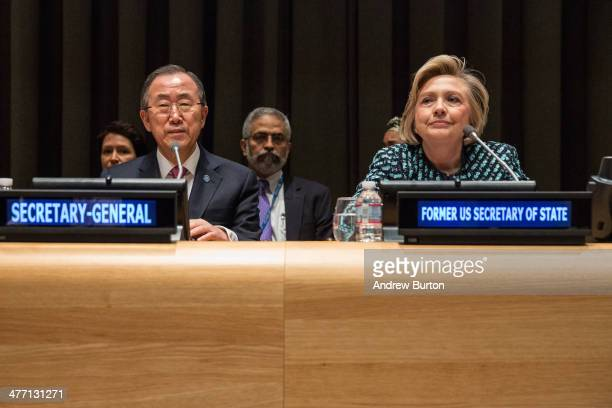 "United Nations Secretary General Ban Ki-moon and Former United States Secretary of State Hillary Clinton attend the event ""Equality for Women is..."