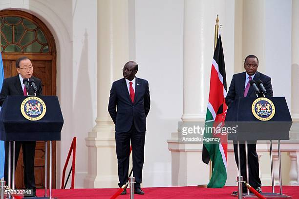 United Nations Secretary General Ban Kimoon and Kenyan President Uhuru Kenyatta hold a joint press conference after the 14th session of United...