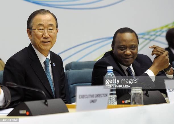 United Nations Secretary General Ban Kimoon and Kenyan President Uhuru Kenyatta attend the closing ceremony of the United Nations Environment...