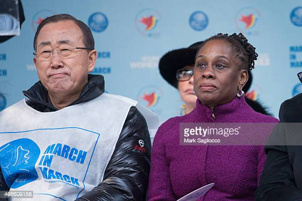 United Nations Secretary General Ban KiMoon and New York City's First Lady Chirlane McCray attend the 2015 International Women's Day March at Dag...