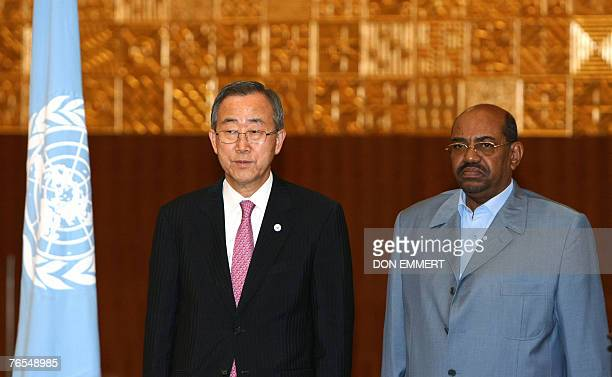 United Nations Secretary General Ban Ki-moon and Sudanese President Omar al-Beshir stand together at a joint press conference after meeting in...