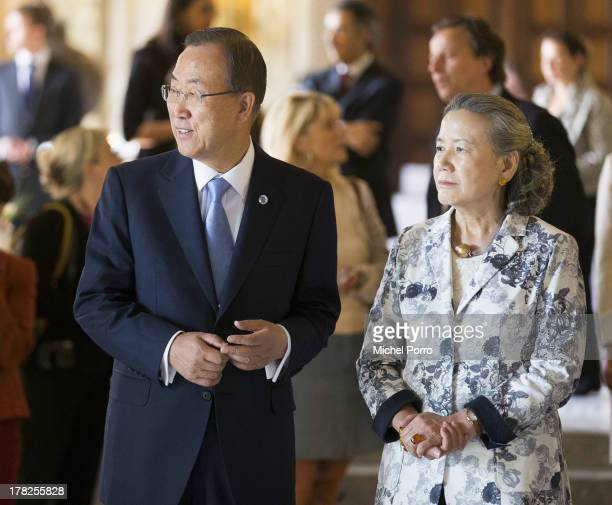 United Nations Secretary General Ban Ki-moon and Yoo Soon-taek attend an event to mark the centennial anniversary of the Peace Palace at the Peace...