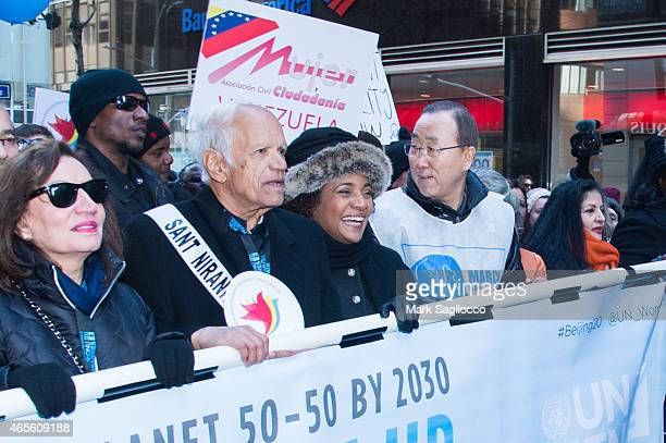 United Nations Secretary General Ban KiMoon attends the 2015 International Women's Day March at Dag Hammarskjold Plaza on March 8 2015 in New York...